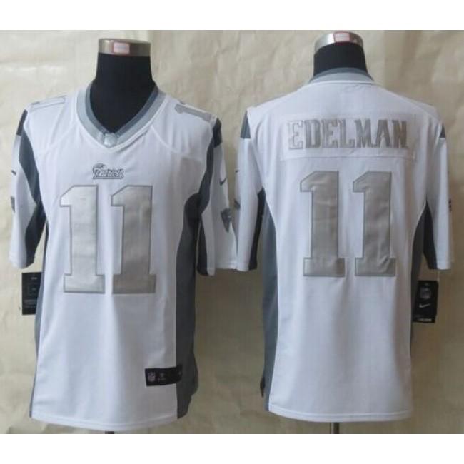 Nike Patriots #11 Julian Edelman White Men's Stitched NFL Limited Platinum Jersey