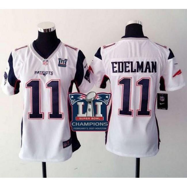 Women's Patriots #11 Julian Edelman White Super Bowl LI Champions Stitched NFL New Elite Jersey