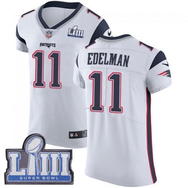 Nike Patriots #11 Julian Edelman White Super Bowl LIII Bound Men's Stitched NFL Vapor Untouchable Elite Jersey