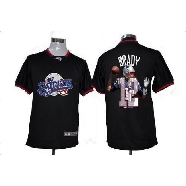 Nike Patriots #12 Tom Brady Black Men's NFL Game All Star Fashion Jersey