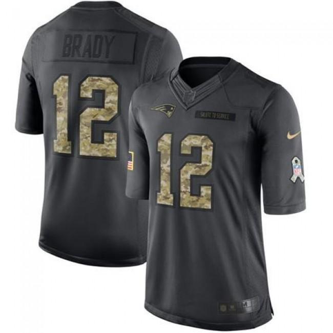 Nike Patriots #12 Tom Brady Black Men's Stitched NFL Limited 2016 Salute To Service Jersey