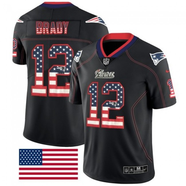 Nike Patriots #12 Tom Brady Black Men's Stitched NFL Limited Rush USA Flag Jersey
