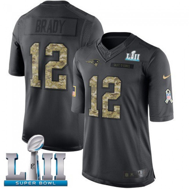 New England Patriots #12 Tom Brady Black Super Bowl LII Youth Stitched NFL Limited 2016 Salute to Service Jersey