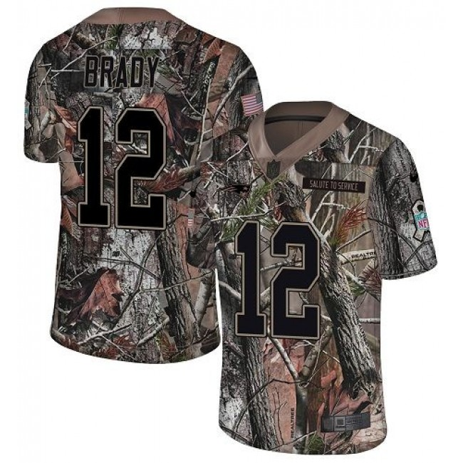 Nike Patriots #12 Tom Brady Camo Men's Stitched NFL Limited Rush Realtree Jersey