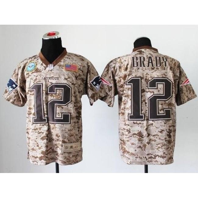 Nike Patriots #12 Tom Brady Camo Men's Stitched NFL New Elite USMC Jersey