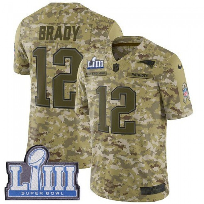 Nike Patriots #12 Tom Brady Camo Super Bowl LIII Bound Men's Stitched NFL Limited 2018 Salute To Service Jersey