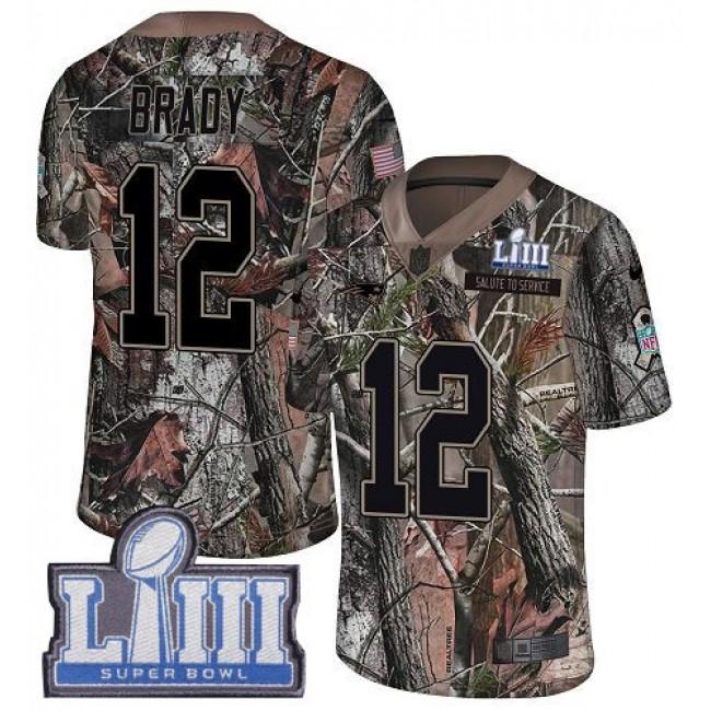 Nike Patriots #12 Tom Brady Camo Super Bowl LIII Bound Men's Stitched NFL Limited Rush Realtree Jersey