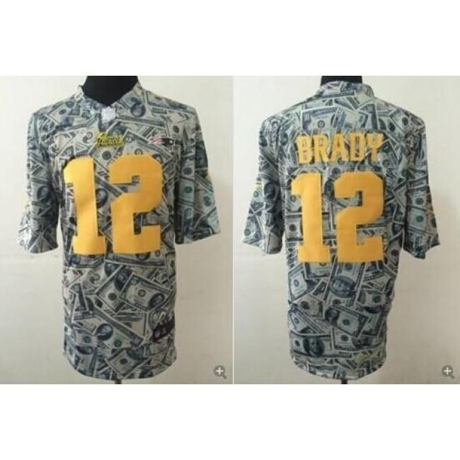 Nike Patriots #12 Tom Brady Dollar Fashion Men's Stitched NFL Elite Jersey