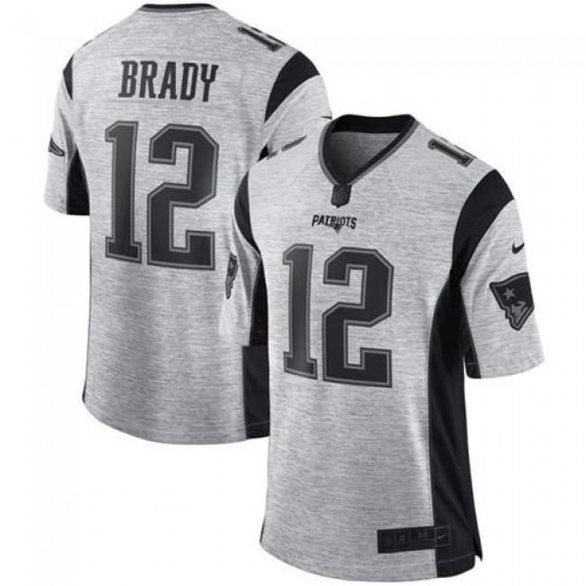 Nike Patriots #12 Tom Brady Gray Men's Stitched NFL Limited Gridiron Gray II Jersey
