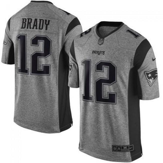 Nike Patriots #12 Tom Brady Gray Men's Stitched NFL Limited Gridiron Gray Jersey