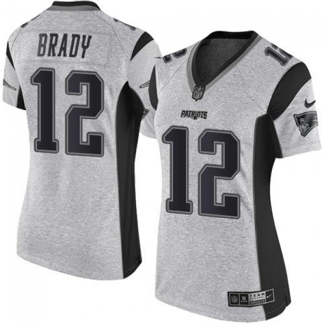 Women's Patriots #12 Tom Brady Gray Stitched NFL Limited Gridiron Gray II Jersey