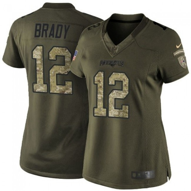 Women's Patriots #12 Tom Brady Green Stitched NFL Limited 2015 Salute to Service Jersey