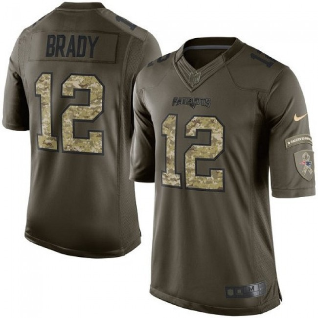New England Patriots #12 Tom Brady Green Youth Stitched NFL Limited 2015 Salute to Service Jersey