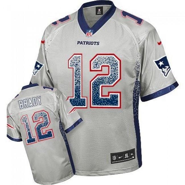 Nike Patriots #12 Tom Brady Grey Men's Stitched NFL Elite Drift Fashion Jersey