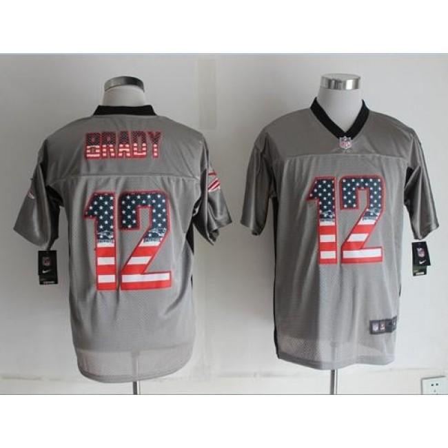 Nike Patriots #12 Tom Brady Grey Men's Stitched NFL Elite USA Flag Fashion Jersey