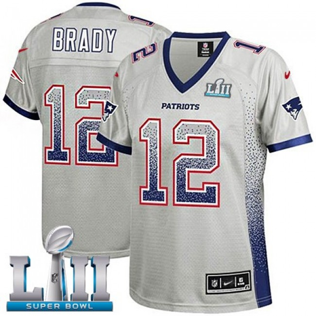 Women's Patriots #12 Tom Brady Grey Super Bowl LII Stitched NFL Elite Drift Jersey