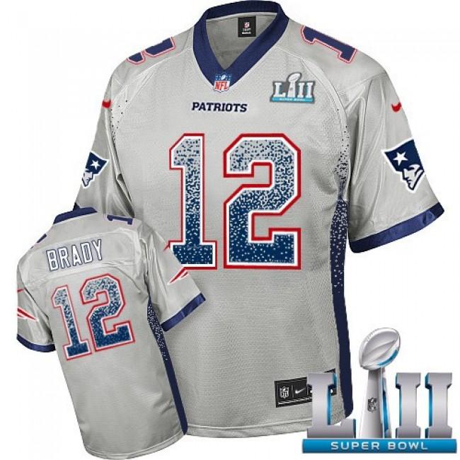 New England Patriots #12 Tom Brady Grey Super Bowl LII Youth Stitched NFL Elite Drift Fashion Jersey