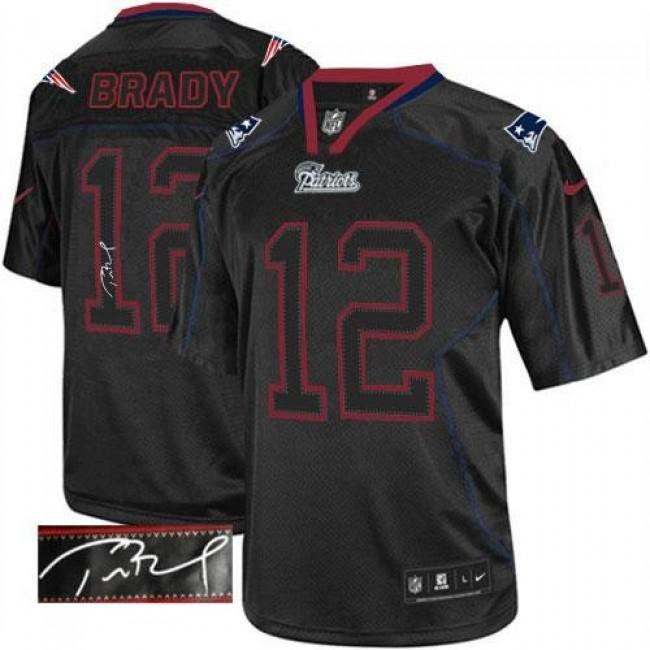 Nike Patriots #12 Tom Brady Lights Out Black Men's Stitched NFL Elite Autographed Jersey