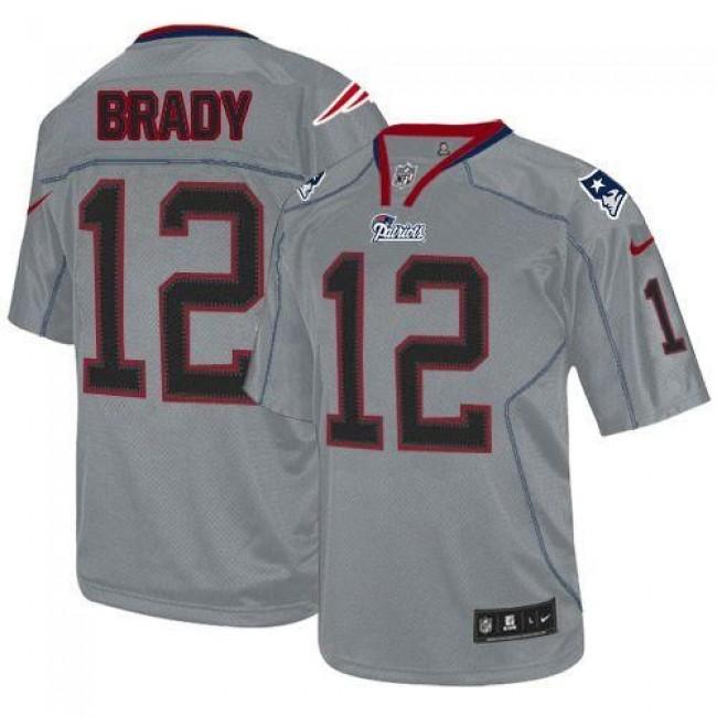 New England Patriots #12 Tom Brady Lights Out Grey Youth Stitched NFL Elite Jersey