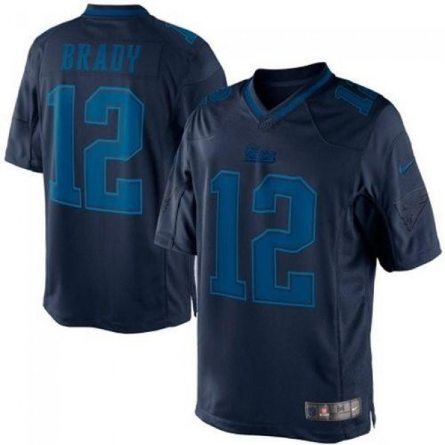 Nike Patriots #12 Tom Brady Navy Blue Men's Stitched NFL Drenched Limited Jersey