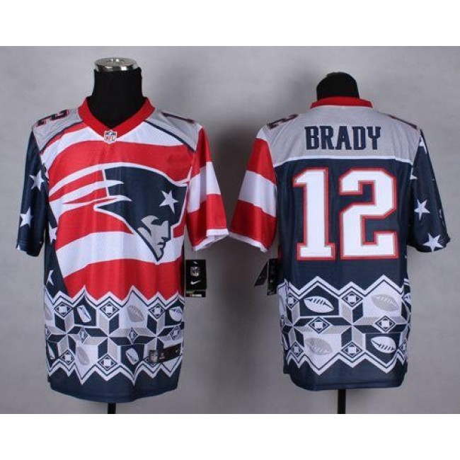 Nike Patriots #12 Tom Brady Navy Blue Men's Stitched NFL Elite Noble Fashion Jersey