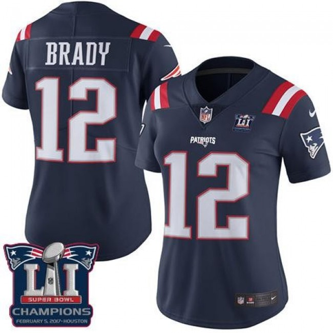 Women's Patriots #12 Tom Brady Navy Blue Super Bowl LI Champions Stitched NFL Limited Rush Jersey
