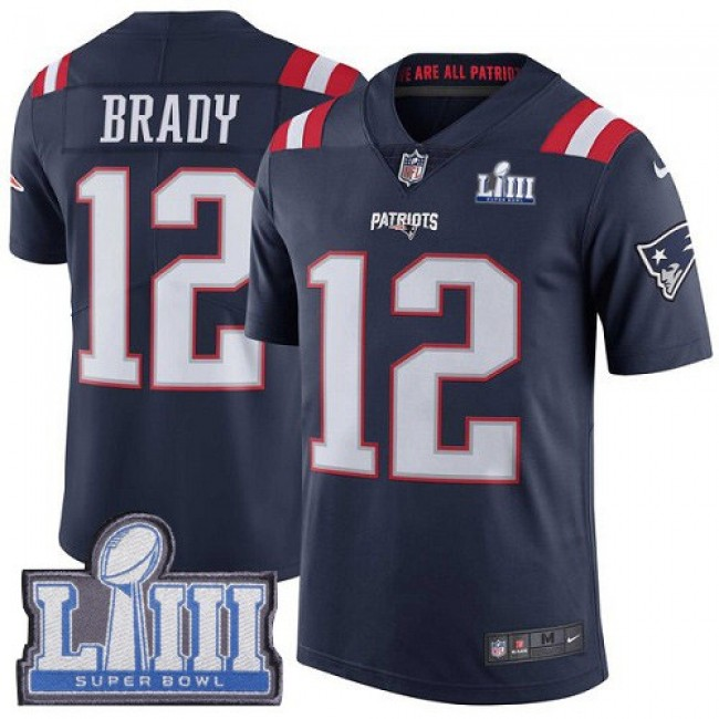 Nike Patriots #12 Tom Brady Navy Blue Super Bowl LIII Bound Men's Stitched NFL Limited Rush Jersey