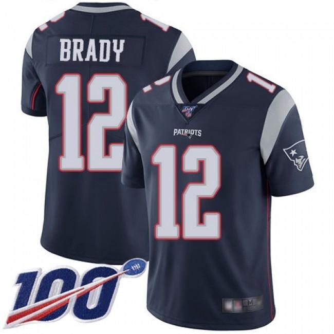 Nike Patriots #12 Tom Brady Navy Blue Team Color Men's Stitched NFL 100th Season Vapor Limited Jersey