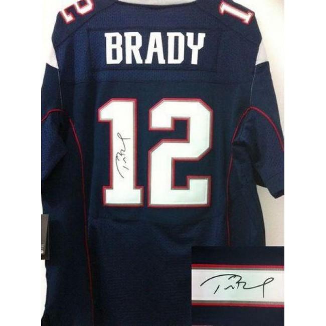 Nike Patriots #12 Tom Brady Navy Blue Team Color Men's Stitched NFL Elite Autographed Jersey