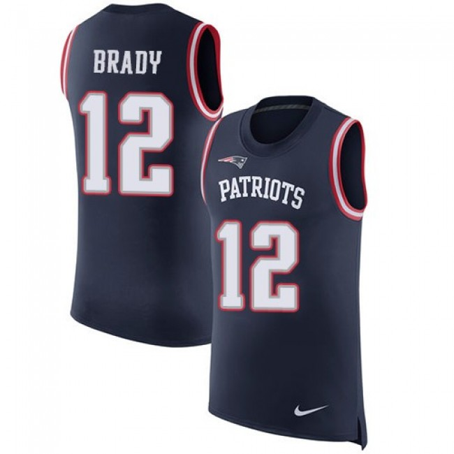 Nike Patriots #12 Tom Brady Navy Blue Team Color Men's Stitched NFL Limited Rush Tank Top Jersey