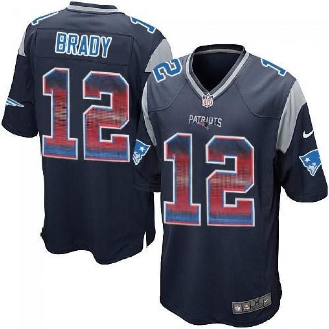 Nike Patriots #12 Tom Brady Navy Blue Team Color Men's Stitched NFL Limited Strobe Jersey