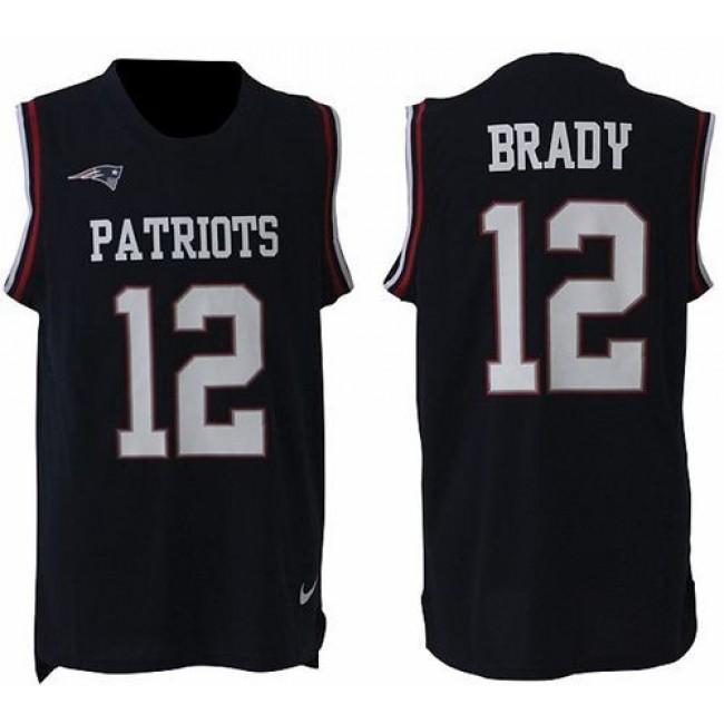 Nike Patriots #12 Tom Brady Navy Blue Team Color Men's Stitched NFL Limited Tank Top Jersey