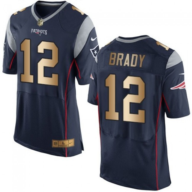 Nike Patriots #12 Tom Brady Navy Blue Team Color Men's Stitched NFL New Elite Gold Jersey