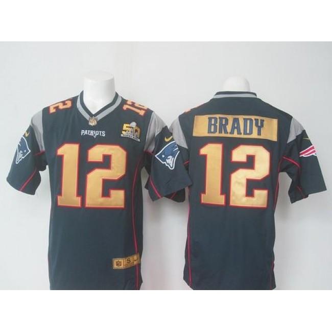 Nike Patriots #12 Tom Brady Navy Blue Team Color Super Bowl 50 Collection Men's Stitched NFL Elite Jersey