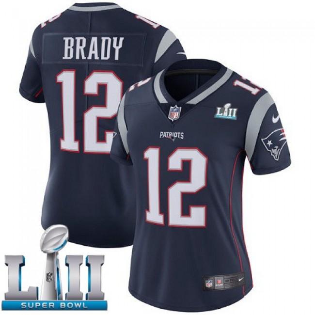 Women's Patriots #12 Tom Brady Navy Blue Team Color Super Bowl LII Stitched NFL Vapor Untouchable Limited Jersey