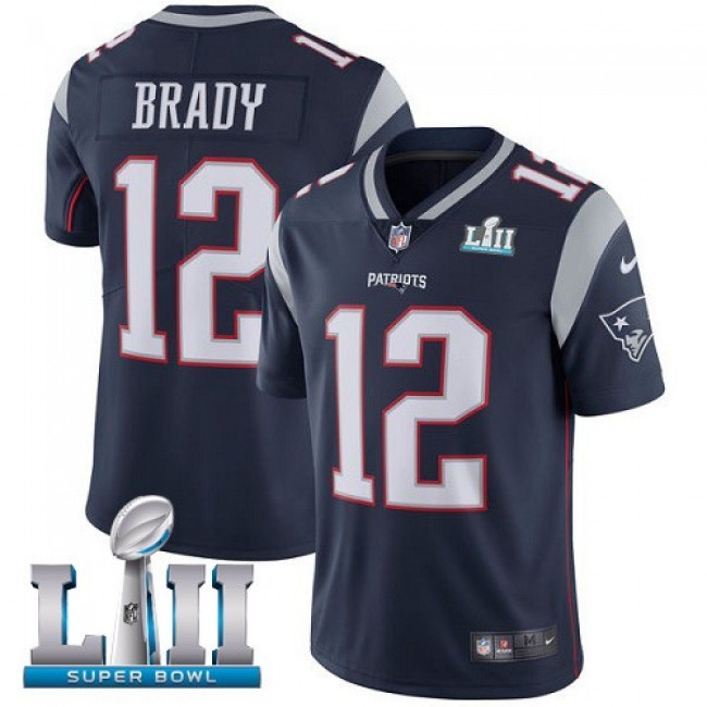 New England Patriots #12 Tom Brady Navy Blue Team Color Super Bowl LII Youth Stitched NFL Vapor Untouchable Limited Jersey