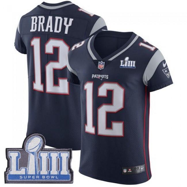 Nike Patriots #12 Tom Brady Navy Blue Team Color Super Bowl LIII Bound Men's Stitched NFL Vapor Untouchable Elite Jersey