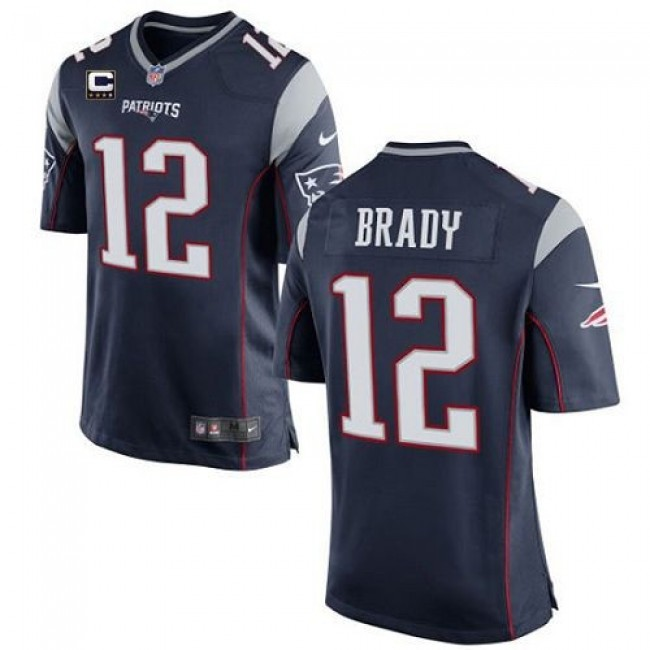 New England Patriots #12 Tom Brady Navy Blue Team Color With C Patch Youth Stitched NFL New Elite Jersey