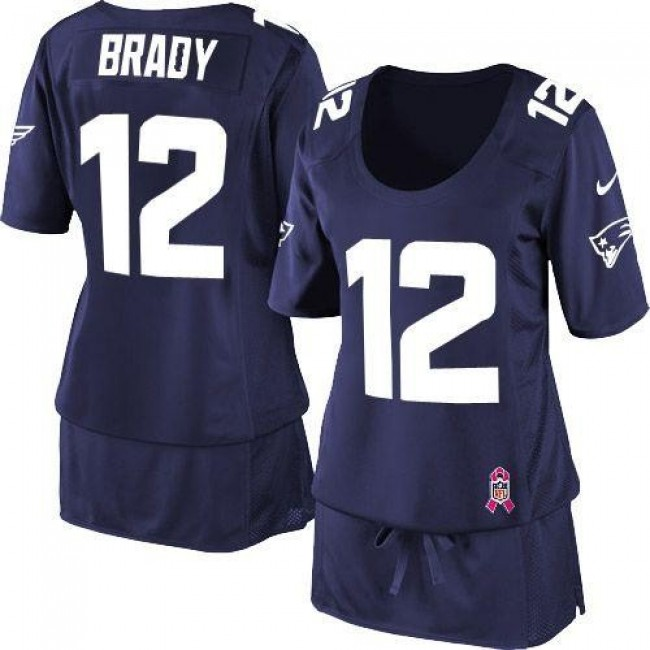 Women's Patriots #12 Tom Brady Navy Blue Team Color Breast Cancer Awareness Stitched NFL Elite Jersey