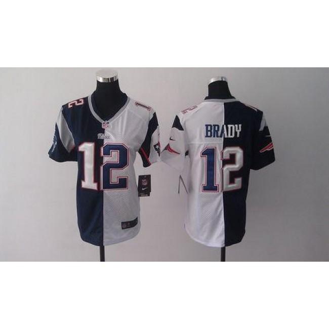 Women's Patriots #12 Tom Brady Navy Blue White Stitched NFL Elite Split Jersey