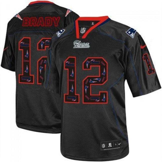 Nike Patriots #12 Tom Brady New Lights Out Black Men's Stitched NFL Elite Jersey