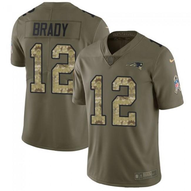Nike Patriots #12 Tom Brady Olive/Camo Men's Stitched NFL Limited 2017 Salute To Service Jersey