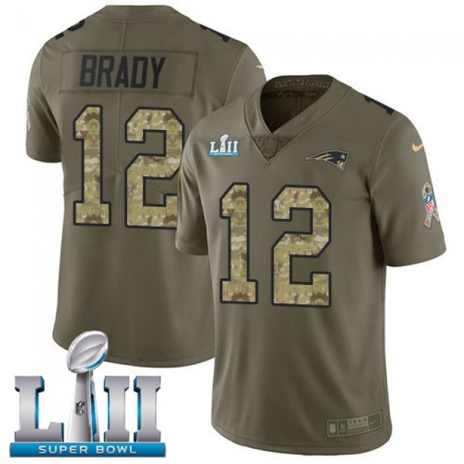 New England Patriots #12 Tom Brady Olive-Camo Super Bowl LII Youth Stitched NFL Limited 2017 Salute to Service Jersey
