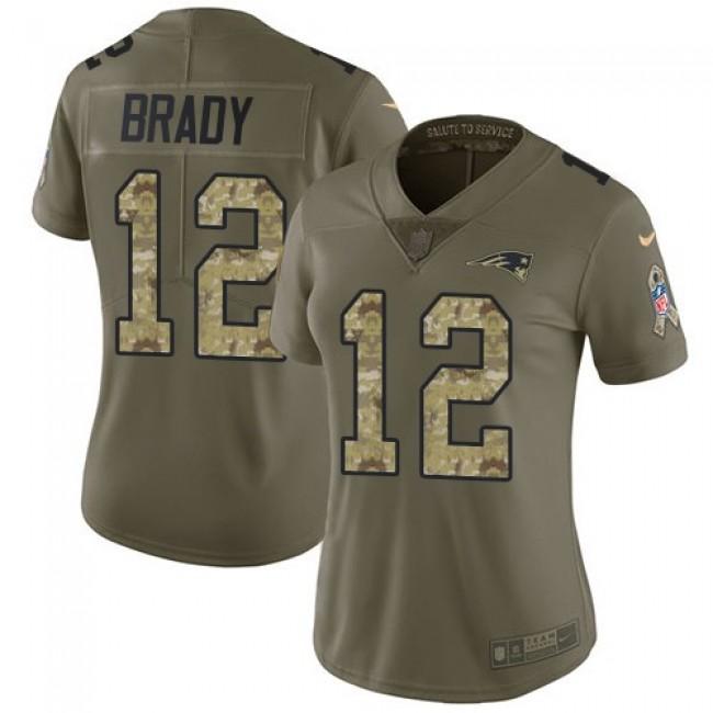 Women's Patriots #12 Tom Brady Olive Camo Stitched NFL Limited 2017 Salute to Service Jersey