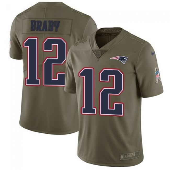 Nike Patriots #12 Tom Brady Olive Men's Stitched NFL Limited 2017 Salute To Service Jersey