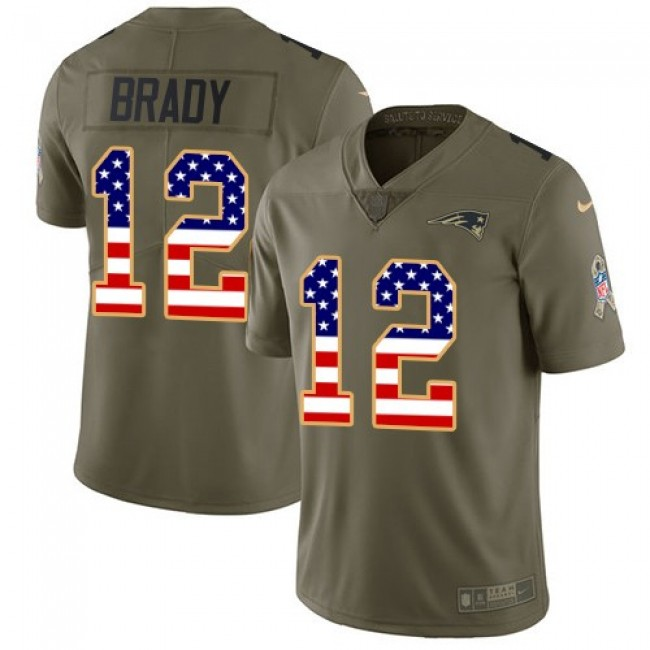 New England Patriots #12 Tom Brady Olive-USA Flag Youth Stitched NFL Limited 2017 Salute to Service Jersey