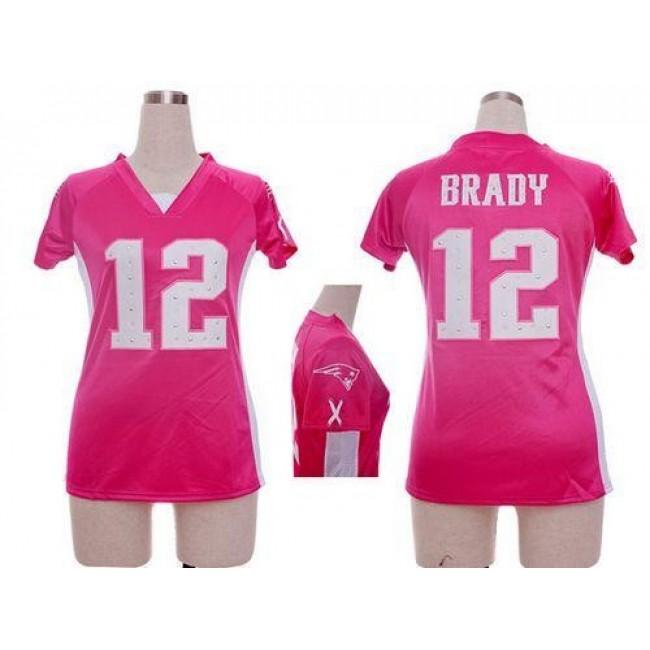 Women's Patriots #12 Tom Brady Pink Draft Him Name Number Top Stitched NFL Elite Jersey
