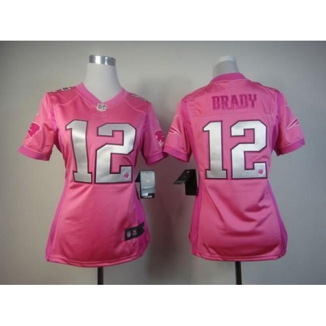 Women's Patriots #12 Tom Brady Pink Be Luv'd Stitched NFL Elite Jersey