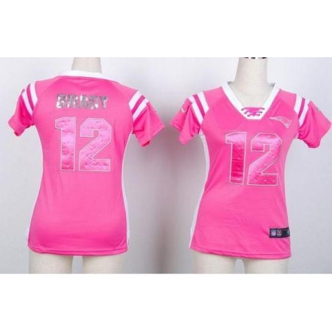 Women's Patriots #12 Tom Brady Pink Stitched NFL Elite Draft Him Shimmer Jersey