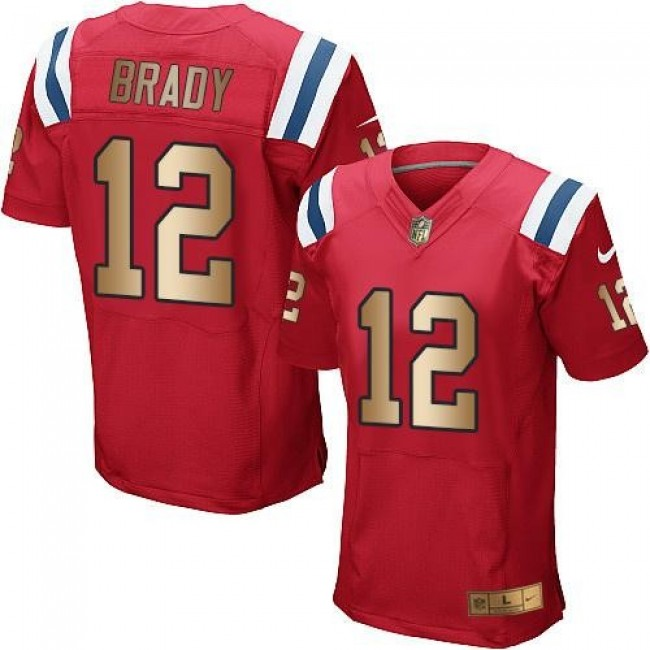 Nike Patriots #12 Tom Brady Red Alternate Men's Stitched NFL Elite Gold Jersey